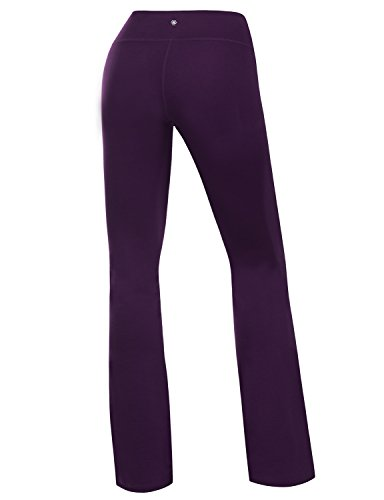 Yoga Reflex Women's Boot-Leg Fitness Yoga Running Lounge Pants Workout Leggings , DeepPurple , Large