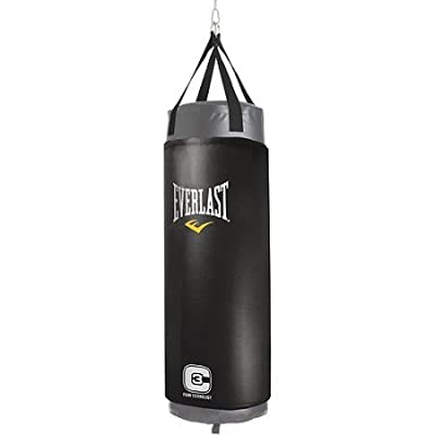 100-Pound Poly-Canvas Foam Elite Heavy Duty Boxing MMA Kickboxing Sparring Muay Thai Black Punching Bag Training Workout Kicking Fitness Gym Home Weight Loss Dimension:13.25 x 13.25 x 50.25 Inches