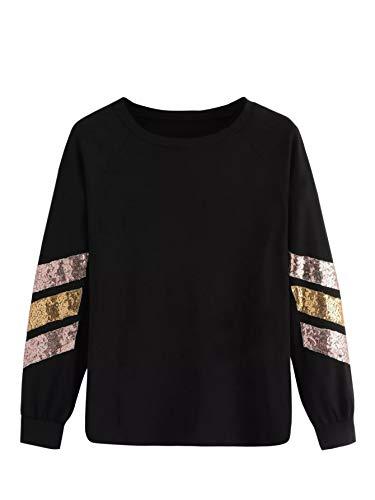SweatyRocks Womens Casual Round Neck Contrast Striped Sequin Long Sleeve Sweatshirt