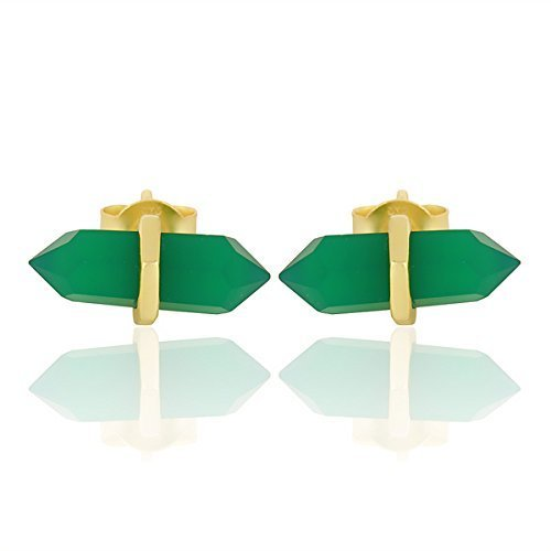 Gold Plated Sterling Silver Green Onyx Women Stud Earrings Gemstone Jewelry (Green Onyx Earrings)