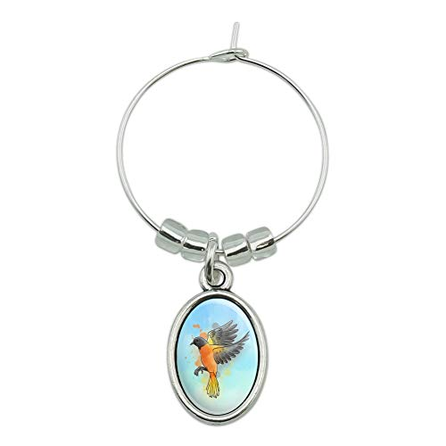 Orioles Baltimore Charm - Baltimore Oriole Watercolor Northeastern Bird Wine Glass Oval Charm Drink Marker