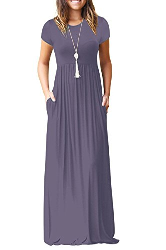Rayon Scarf Jersey - Euovmy Women's Casual Loose Short Sleeve Maxi T-Shirt Dresses with Pockets Purple Grey Large