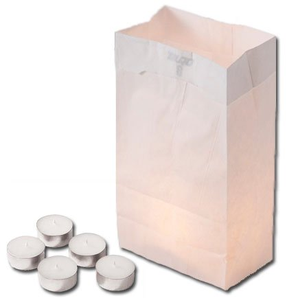 Luminaria Kit - Bags & Tealight Candles 4hr (Set of 500) by Concordia Supply