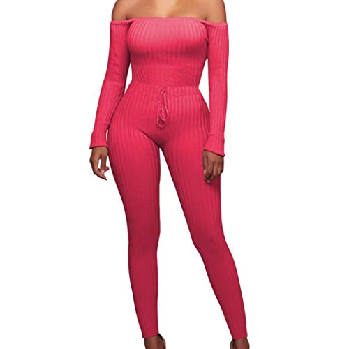 iYYVV Women Fashion Fancy Off Shoulder Long Sleeve Sexy Bodycon Hip Rompers Jumpsuit Hot Pink]()