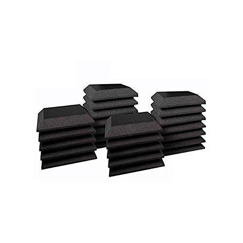 Mybecca [24 PACK] Acoustic Foam BEVEL Tiles Soundproofing Wall Panel 12 x 12 x 2 inch, Made in USA