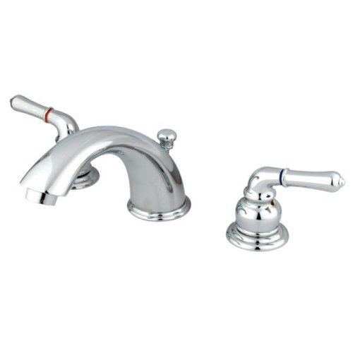 Kingston Brass KB961 Magellan II Widespread Lavatory Faucet 8-Inch to 16-Inch Centers, Polished (Polished Chrome Lavatory Supply)