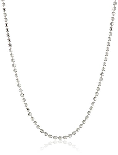 (Italian 925 Sterling Silver Bead Diamond-cut 1mm Chain Necklace (16