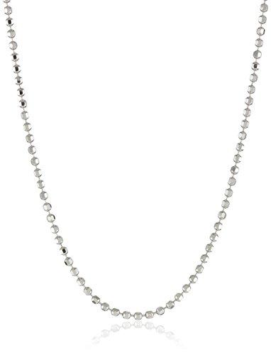 (Italian 925 Sterling Silver Bead Diamond-Cut 1mm Chain Necklace (16