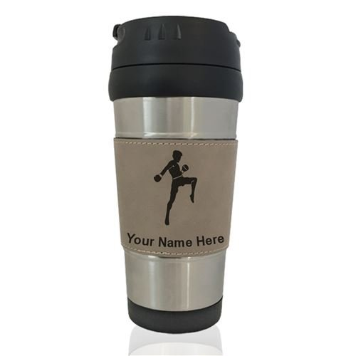 Travel Mug - Muay Thai Fighter - Personalized Engraving Included (Light Brown) by SkunkWerkz
