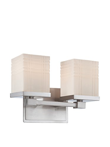 Lite Source LS-16342 E27 Type A 60W x 2 Benicio 2-Lite Vanity with PS/Frost Glass Shade, Polished Steel