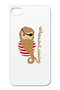 TPU Satire Ship Beard Anchor Eye Patch Pirates Pirate Funny Neard Nautical Brown Pirate Longbeard Protective Hard Case For Iphone 4/4s