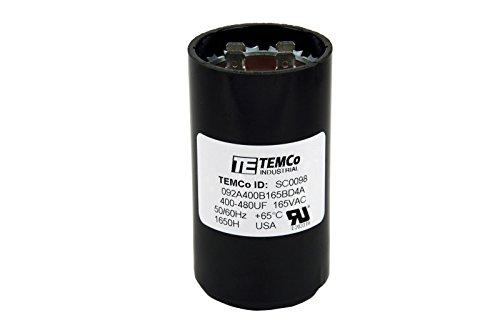TEMCo Motor Start Capacitor SC0098-400-480 mfd 165 V VAC Volt 400-480 uf Round HVAC AC Electric