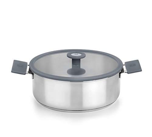 Bra Color Steel - Batería de cocina 4 piezas de acero inoxidable,apta para todo tipo de cocinas incluída inducción.