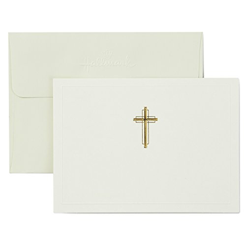 Hallmark Religious Blank Cards, Gold Cross (20 Cards with Envelopes)