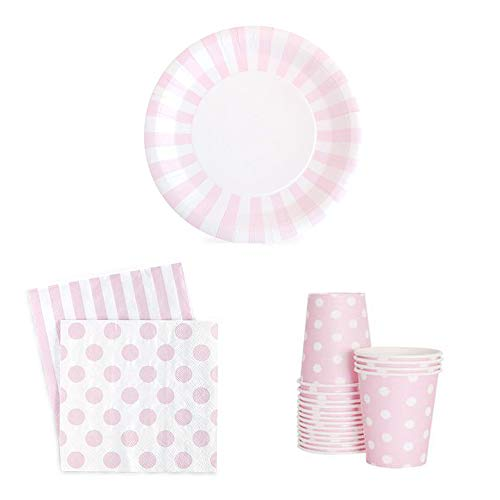 Paper Eskimo Pink Cups Paper Plates Marshmallow Napkins Pack of 12-12 Disposable Pink Paper Cups, 12 Plates and 20 Light Pink Napkins! -