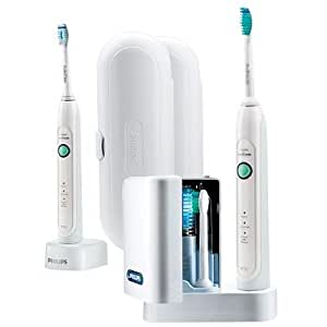Philips Sonicare HX6733/70 HealthyWhite 3 Mode Premium Edition Rechargeable Toothbrush 2 Sets (2 handles, 2 brush heads, 1 Hydro Clean UV Sanitizer with Integrated Charger, 1 Travel charger, 2 Travel cases)