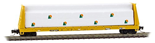 Micro-Trains MTL Z-Scale 60ft. Bulkhead Flat Car/Lumber Load TTX/Yellow #804630
