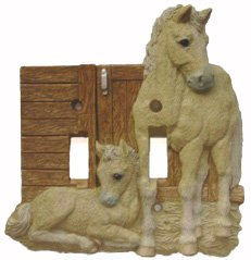 Lightswitch Palomino Horse Decor Double Switch Plate Cover