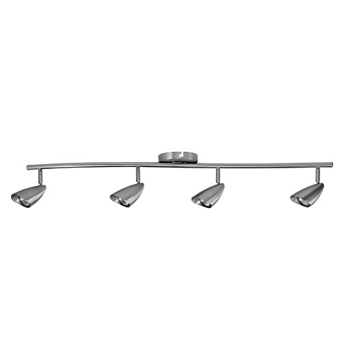 Globe Electric Grayson 4-Light S-Shape Track Lighting Kit, Brushed Steel Finish, 4 Bulbs Included, 59066