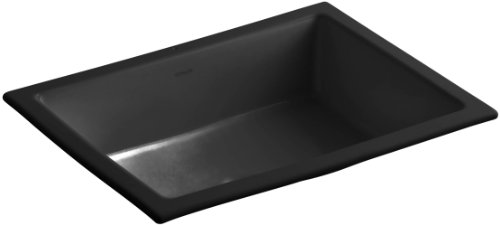 Kohler 2882-7 Vitreous china undermount Rectangular Bathroom Sink, 22 x 17.5 x 8.19 inches, Black/Black