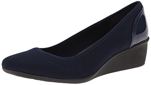 Anne Klein Sport Women's Wisher Fabric Wedge Pump, Navy, 7.5 M US