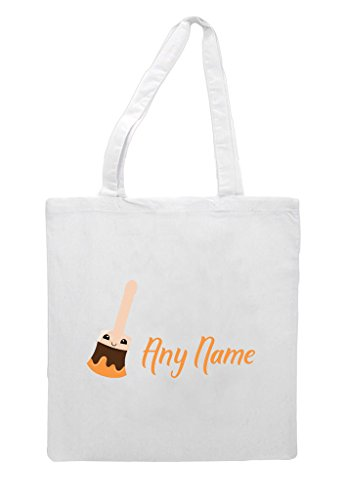 School Gift Paint To With Appreciation White Orange Back Personalised Tote Brush And Text Bag Shopper Teacher 8wPxanqE