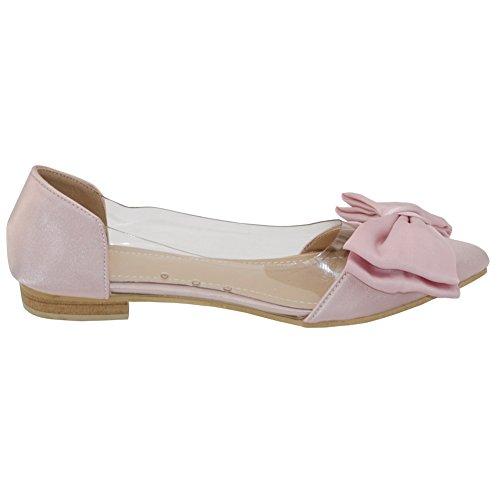 AalarDom Mujer Sin cordones Puntera Cerrada Mini Tacón Esmerilado Sólido De salón Rosa