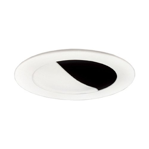 Jesco Lighting TM404BKWH 4-Inch Aperture Low Voltage Trim Recessed Light, Wall Washer with Step Baffle, Black Finish with White Trim
