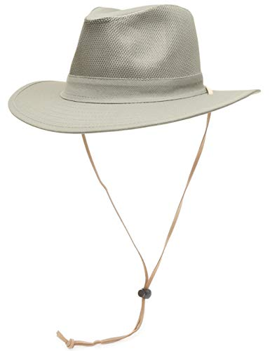 6423cb0a4c23d MIRMARU Men s Outdoor Sun Protection 100% Cotton Mesh Crown Outback Wide  Brim Safari Hat with Adjustable Drawstring (MESH Olive