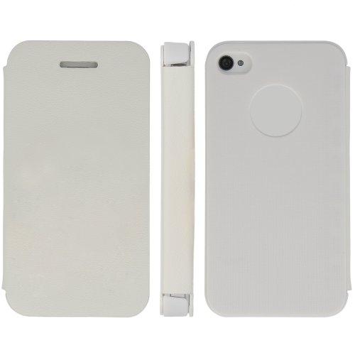 handy-point Wallet, Flip Case für Apple iPhone 4 / 4G / 4S, Weiss, Weiß, Hülle, Buch-Hülle, Buchhülle, Klapptasche, Klapphülle, Schale, Schutzschale, Schutzhülle, Handyhülle, Handytasche, Etui