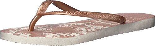 Havaianas Women's Slim Animal Flip Flops, White/Golden Blush, 39/40 M EU Animal Print Flip Flop