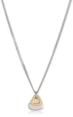 Fossil Women's Duo Heart Two-Tone Sterling Silver Necklace