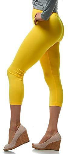 Lush Moda Seamless Capri Length Basic Cropped Leggings - Variety of Colors - Yellow- OS -