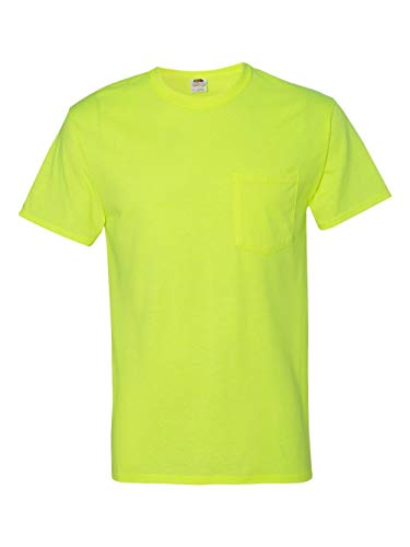 Fruit of the Loom 3931P Unisex Adult 5.6 oz Heavy Cotton Pocket T-Shirt Cotton Safety Green 3XL