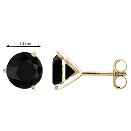 0.25 CTW Round Black Diamond Martini Stud Earrings In 14K Yellow Gold - Diamond Martini Stud