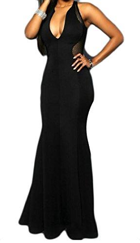 Jaycargogo Solid Dresses Color Black Women's Neck Hollow Tunic Sexy V Sleeveless PqrUgO7TP