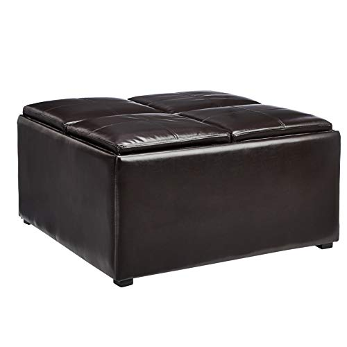 (Red Hook Lyndale Square Coffee Table Storage Ottoman with 4 Flip-Over Trays, Vanilla Bean Brown)