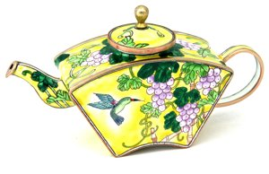 Kelvin Chen Enameled Miniature Tea Pot - Hummingbird