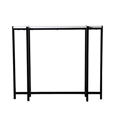 "Furniture HotSpot - Narrow Console Table – Black w/White - 36"" W x 8"" D x 29.75"" H - Modern entry table works in your foyer, living room, or under a wall mounted TV Skinny console table brings décor versatility to small spaces Materials: High gloss white, engineered wood and polyurethane, with matte black powder-coated iron base - living-room-furniture, living-room, console-tables - 31NKE3m6%2BiL. SS400  -"
