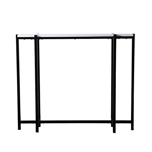 Narrow Skinny Console Table - Black Metal Frame w/White Top - Modern Entryway