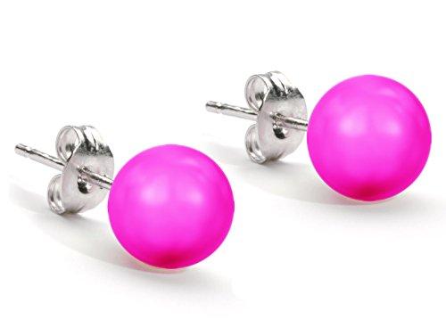 Swarovski-Boucles d'oreilles Collection Couleur :  Rose fluo Clous d'oreilles pour femme Perle Par Favava