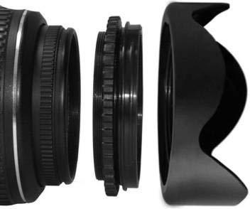 Hanumex® 58MM Reversible Flower Lens Hood for CANON REBEL (T5i T4i T3i T3 T2i T1i XT XTi XSi SL1), CANON EOS (700D 650D 600D 550D 500D 450D 400D 350D 300D 1100D 100D 60D 1150D 1200D 1300D 18-55MM LENS 55-250MM LENS Lens Hood (58 mm, Black)