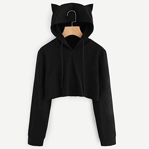 Capuche Beikoard Pull Haut Femme Manches Shirt Cat Tops Chemisier Longues Ear Haut Sweat Womens Chic Capuche Noir à r16vZPqr