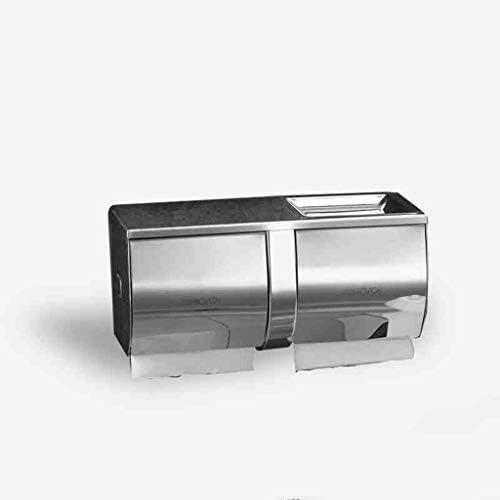 YASE-king 浴室ステンレススチールダブルロールカートントイレットティッシュボックスロールホルダーダブルロールトイレットペーパーボックスサイズ:27.2 * 10.2 * 12.6センチメートル