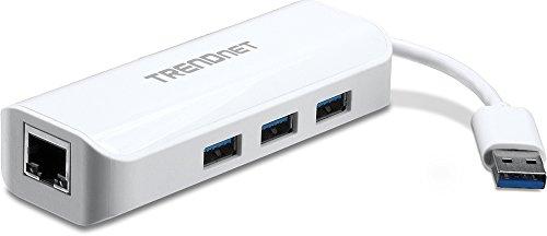 - TRENDnet 3-Port USB 3.0 Hub mit 10/100/1000 Mbps Gigabit Ethernet Adapter (3x USB 3.0 Ports, 1x RJ45 Gigabit Ethernet Port),TU3-ETGH3