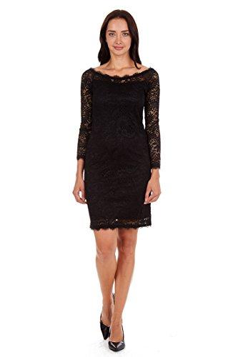 ONYX Nite Women's Long Sleeve Stretch Lace Shift Dress with Eyelash in Crewneck and Hem Black 16