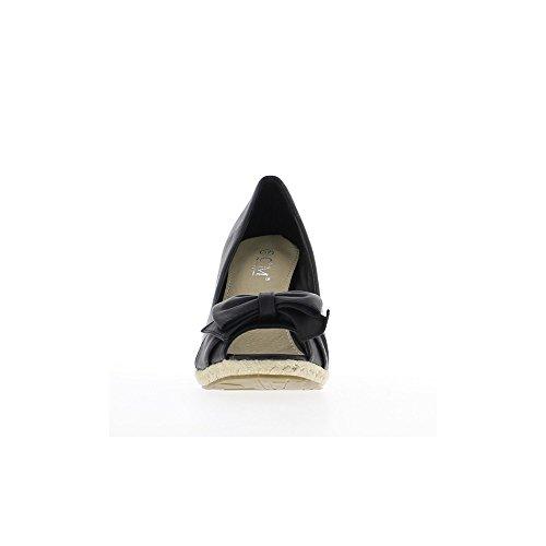 Compensées noires à talon de 10cm et mini plateforme
