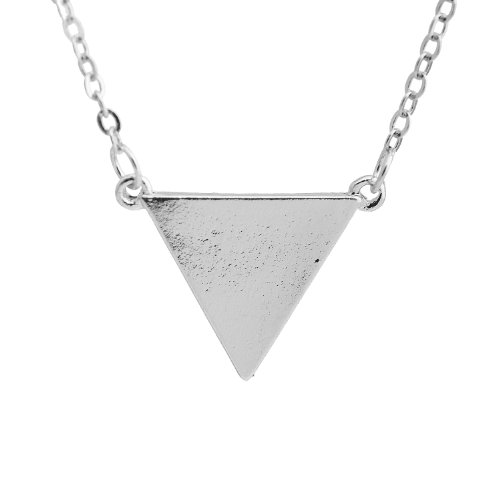 (SpinningDaisy Simple Love Triangle Necklace (Silver)