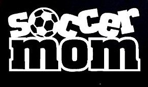 Soccer Mom Soccer Ball Decal Vinyl Sticker|Cars Trucks Vans Walls Laptop| WHITE |7.5 x 3.5 in|CCI924]()