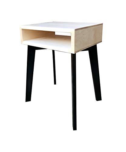 End Table Side Table with Shelf by CW Furniture Long Minimalist Nightstand Solid Hardwood Modern Maple, Birch, Walnut, Cherry, Oak